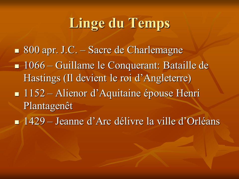 Linge du Temps 800 apr. J.C. – Sacre de Charlemagne 800 apr.