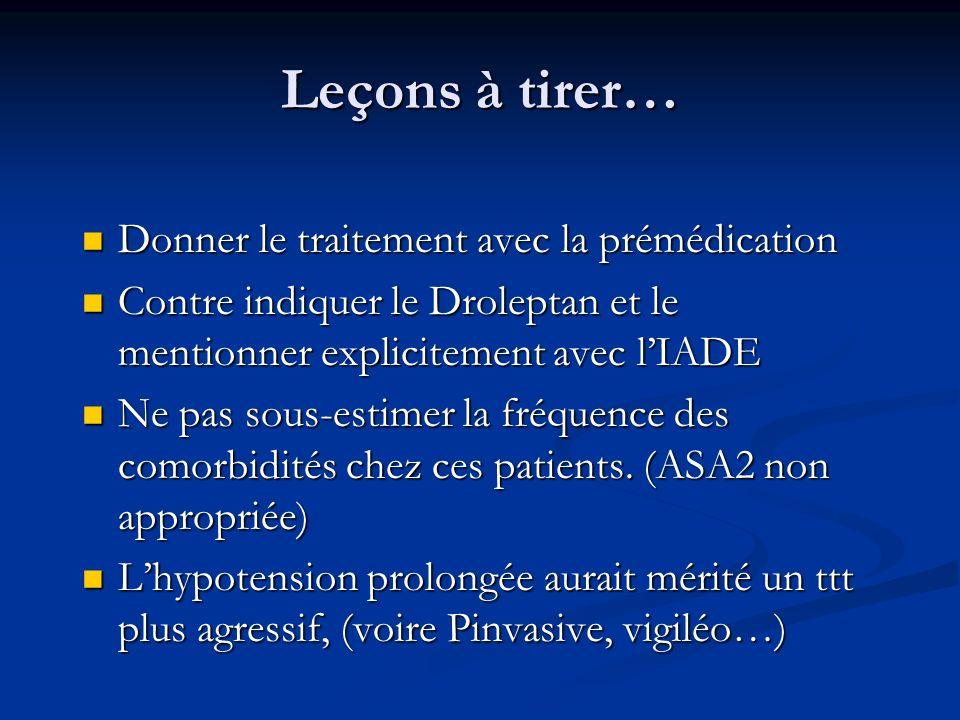 Leçons à tirer… Donner le traitement avec la prémédication Donner le traitement avec la prémédication Contre indiquer le Droleptan et le mentionner ex