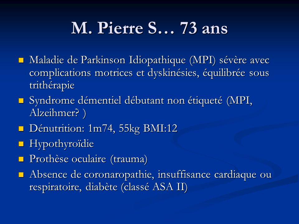 M. Pierre S… 73 ans Maladie de Parkinson Idiopathique (MPI) sévère avec complications motrices et dyskinésies, équilibrée sous trithérapie Maladie de