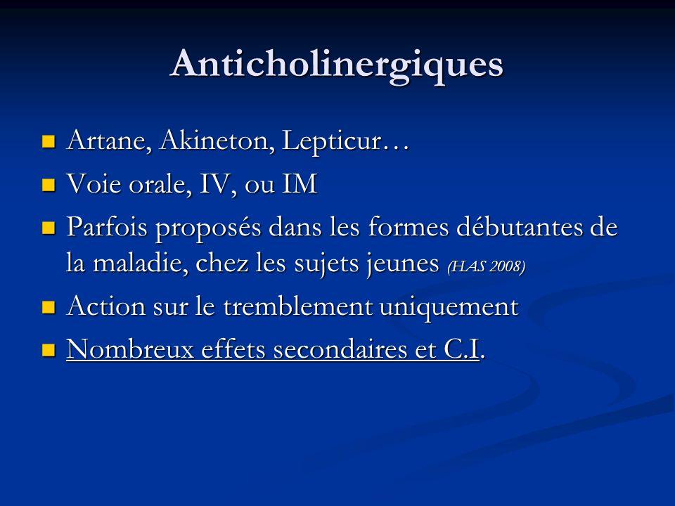 Anticholinergiques Artane, Akineton, Lepticur… Artane, Akineton, Lepticur… Voie orale, IV, ou IM Voie orale, IV, ou IM Parfois proposés dans les forme