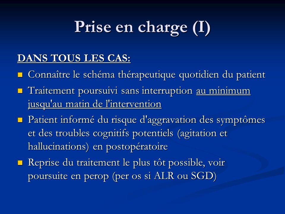 Prise en charge (I) DANS TOUS LES CAS: Connaître le schéma thérapeutique quotidien du patient Connaître le schéma thérapeutique quotidien du patient T