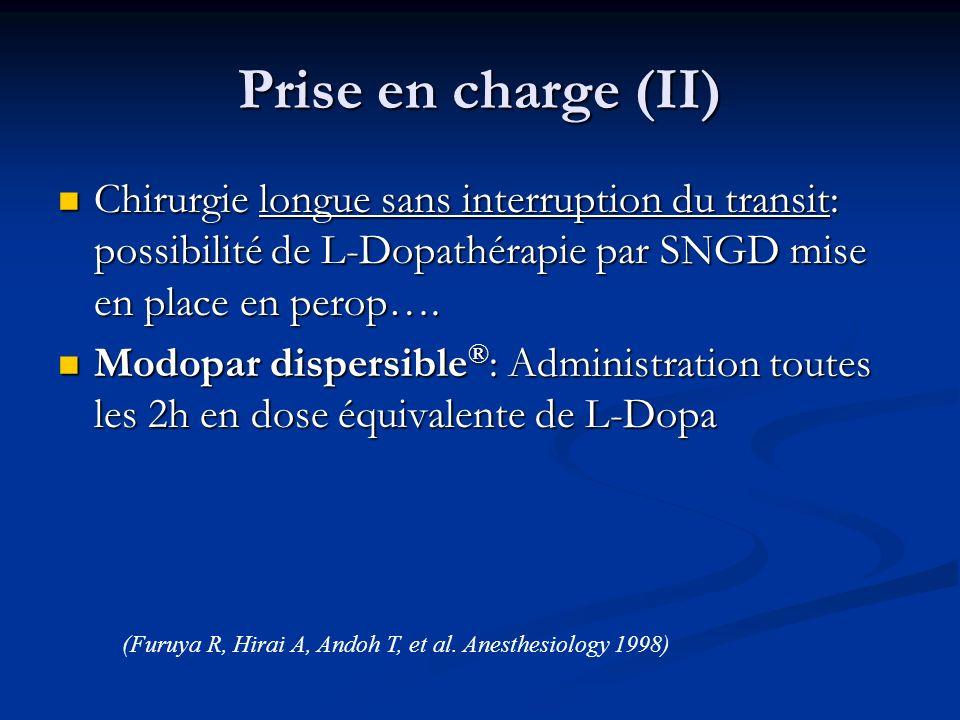 Prise en charge (II) Chirurgie longue sans interruption du transit: possibilité de L-Dopathérapie par SNGD mise en place en perop…. Chirurgie longue s