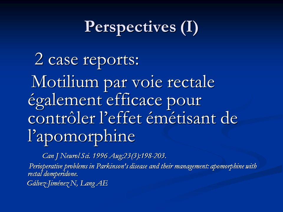 Perspectives (I) 2 case reports: 2 case reports: Motilium par voie rectale également efficace pour contrôler leffet émétisant de lapomorphine Motilium