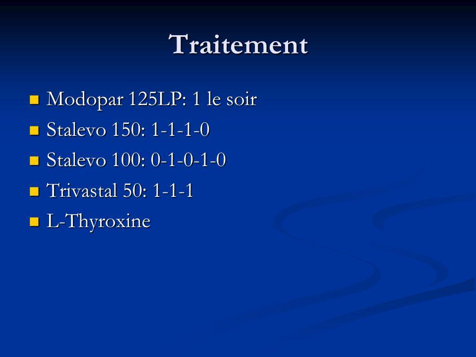 Traitement Modopar 125LP: 1 le soir Modopar 125LP: 1 le soir Stalevo 150: 1-1-1-0 Stalevo 150: 1-1-1-0 Stalevo 100: 0-1-0-1-0 Stalevo 100: 0-1-0-1-0 T