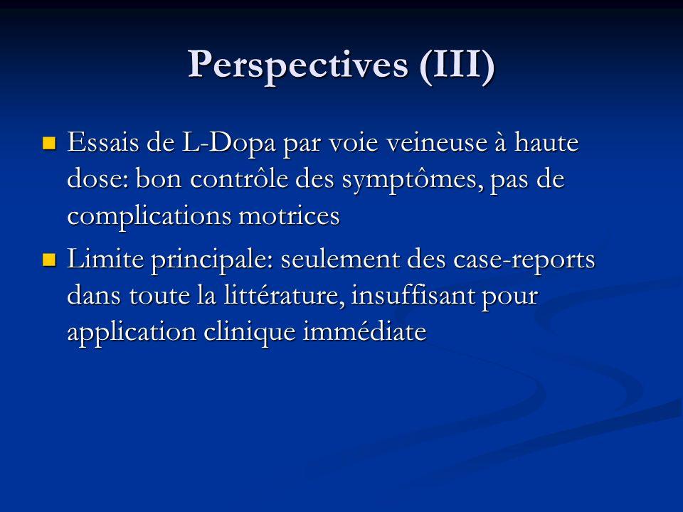 Perspectives (III) Essais de L-Dopa par voie veineuse à haute dose: bon contrôle des symptômes, pas de complications motrices Essais de L-Dopa par voi
