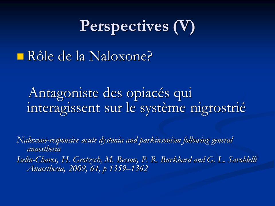 Perspectives (V) Rôle de la Naloxone? Rôle de la Naloxone? Antagoniste des opiacés qui interagissent sur le système nigrostrié Antagoniste des opiacés