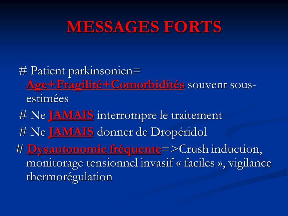 MESSAGES FORTS # Patient parkinsonien= Age+Fragilité+Comorbidités souvent sous- estimées # Patient parkinsonien= Age+Fragilité+Comorbidités souvent so