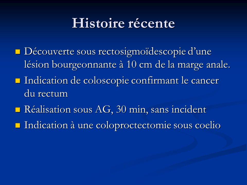 Coloproctectomie le 11/12/09 Sous anesthésie générale Sous anesthésie générale Induction séquence rapide Induction séquence rapide Patient RAS avant induction Patient RAS avant induction Prémédication: Raniplex 150, Dafalgan 1g, Neurontin 600 mg Prémédication: Raniplex 150, Dafalgan 1g, Neurontin 600 mg Traitement antiparkinsonien et L-Thyroxine non données.