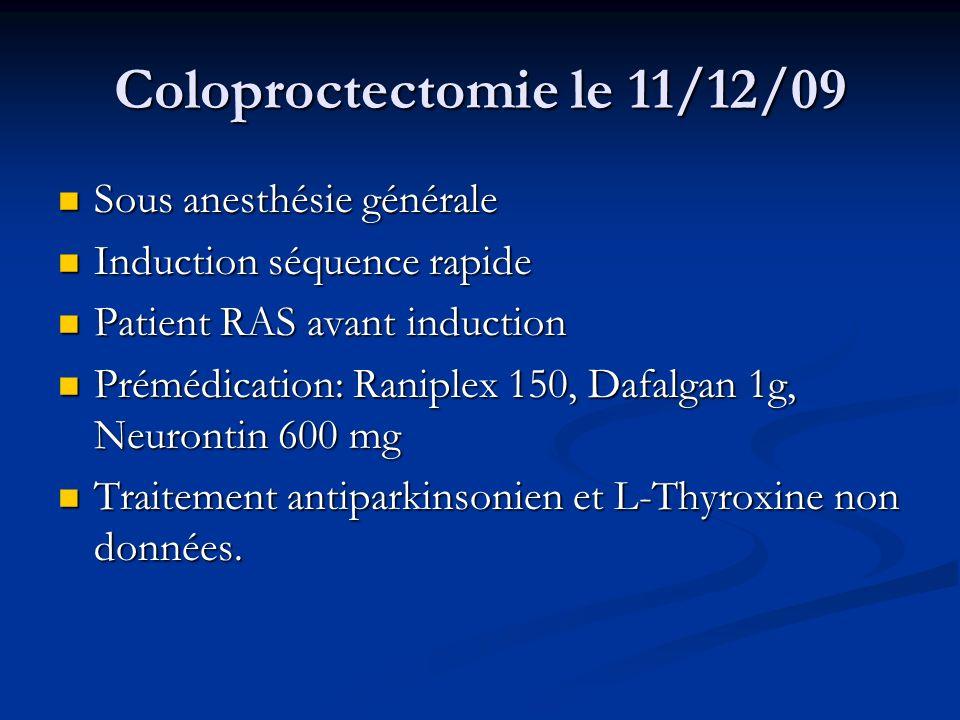Coloproctectomie le 11/12/09 IOT à 12h15 sous Ultiva diprivan Célocurine IOT à 12h15 sous Ultiva diprivan Célocurine Intervention sous desflurane, ultiva (2410µg-CE 2,5 à 3µg), Tracrium (80mg) FiO2<60% (80% pour ISO ?) Intervention sous desflurane, ultiva (2410µg-CE 2,5 à 3µg), Tracrium (80mg) FiO2<60% (80% pour ISO ?) Relais Morphine 10 mg, 80 minutes avant fin Relais Morphine 10 mg, 80 minutes avant fin Antibioprophylaxie adaptée: Céfoxitine 2g puis 1g/h Antibioprophylaxie adaptée: Céfoxitine 2g puis 1g/h A reçu: 4,5l de RL+ 0,5L de Voluven, Perfalgan, Topalgic 100, Acupan, et… Droleptan 1,25 A reçu: 4,5l de RL+ 0,5L de Voluven, Perfalgan, Topalgic 100, Acupan, et… Droleptan 1,25