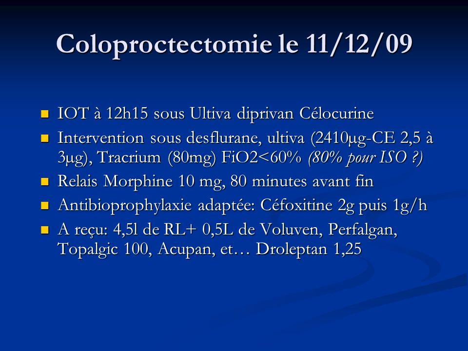 Coloproctectomie le 11/12/09 IOT à 12h15 sous Ultiva diprivan Célocurine IOT à 12h15 sous Ultiva diprivan Célocurine Intervention sous desflurane, ult