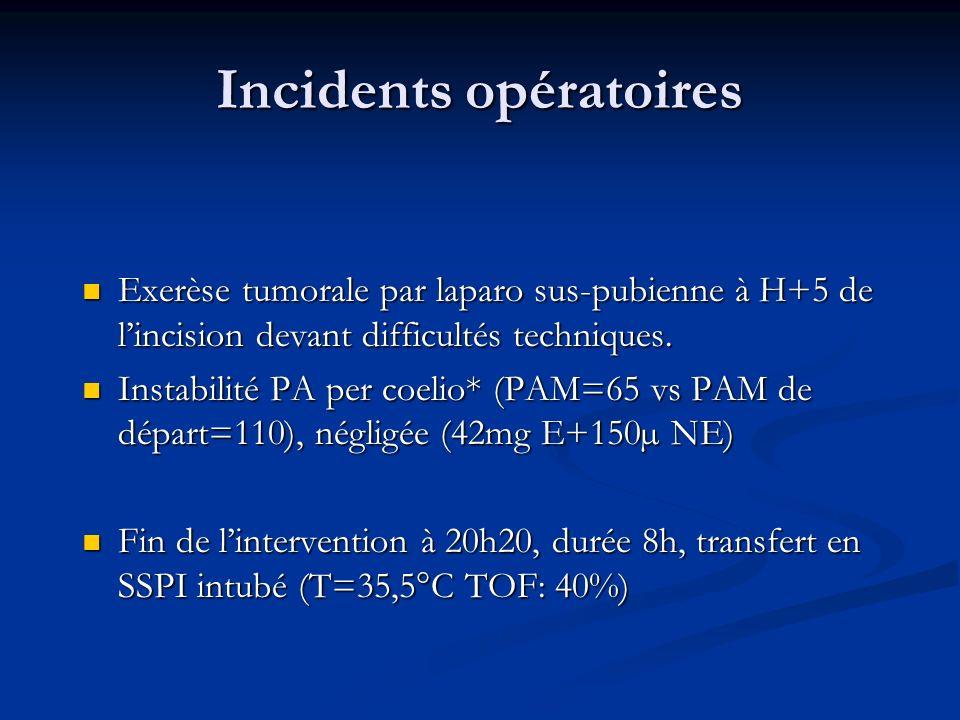 Incidents opératoires Exerèse tumorale par laparo sus-pubienne à H+5 de lincision devant difficultés techniques. Exerèse tumorale par laparo sus-pubie