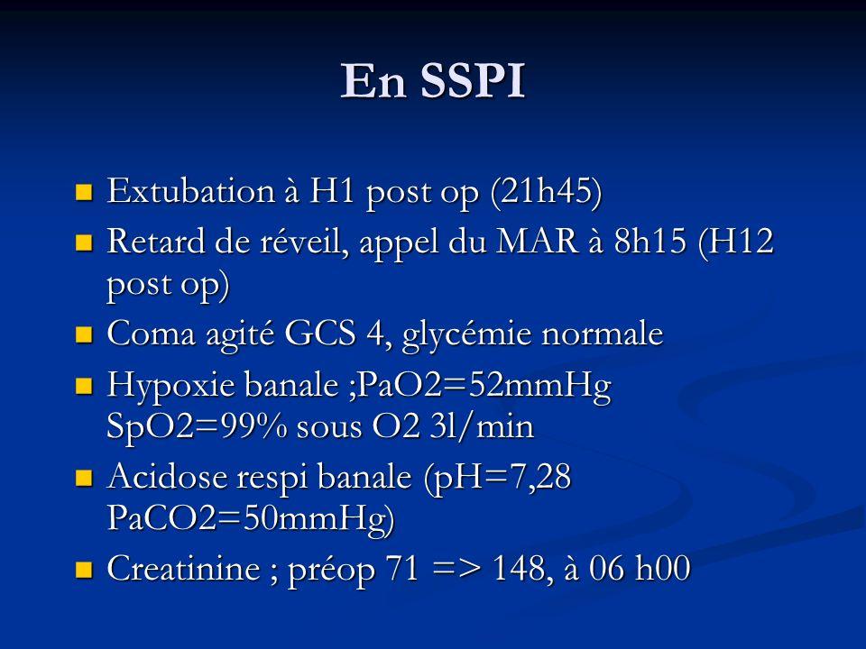 Transfert en USC (H14 post-op) Narcan 0,2mgx2: réveil « de moyenne qualité » Narcan 0,2mgx2: réveil « de moyenne qualité » Mise sous Narcan 0,6mg/h réveil progressif dans les 4h avec agitation.