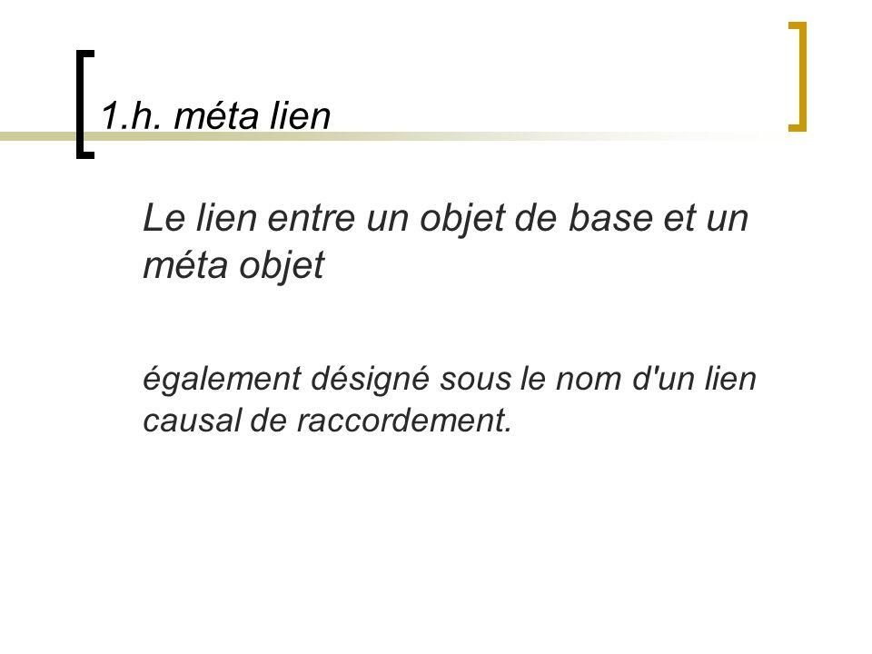 1.h. méta lien Le lien entre un objet de base et un méta objet également désigné sous le nom d'un lien causal de raccordement.