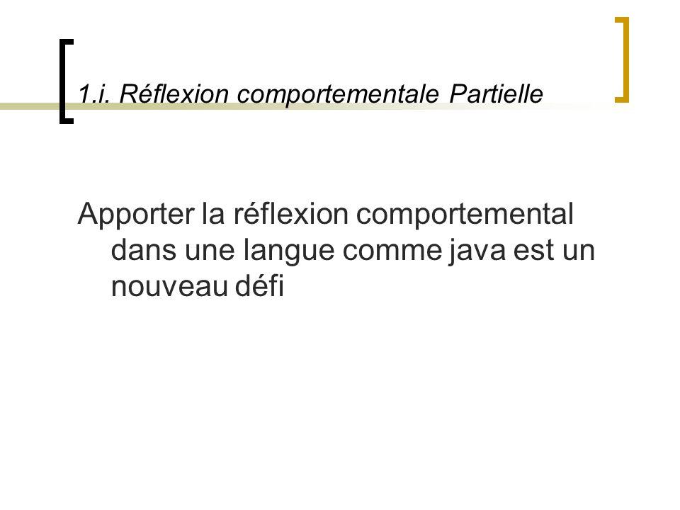 1.i. Réflexion comportementale Partielle Apporter la réflexion comportemental dans une langue comme java est un nouveau défi