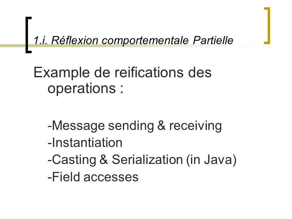 1.i. Réflexion comportementale Partielle Example de reifications des operations : -Message sending & receiving -Instantiation -Casting & Serialization