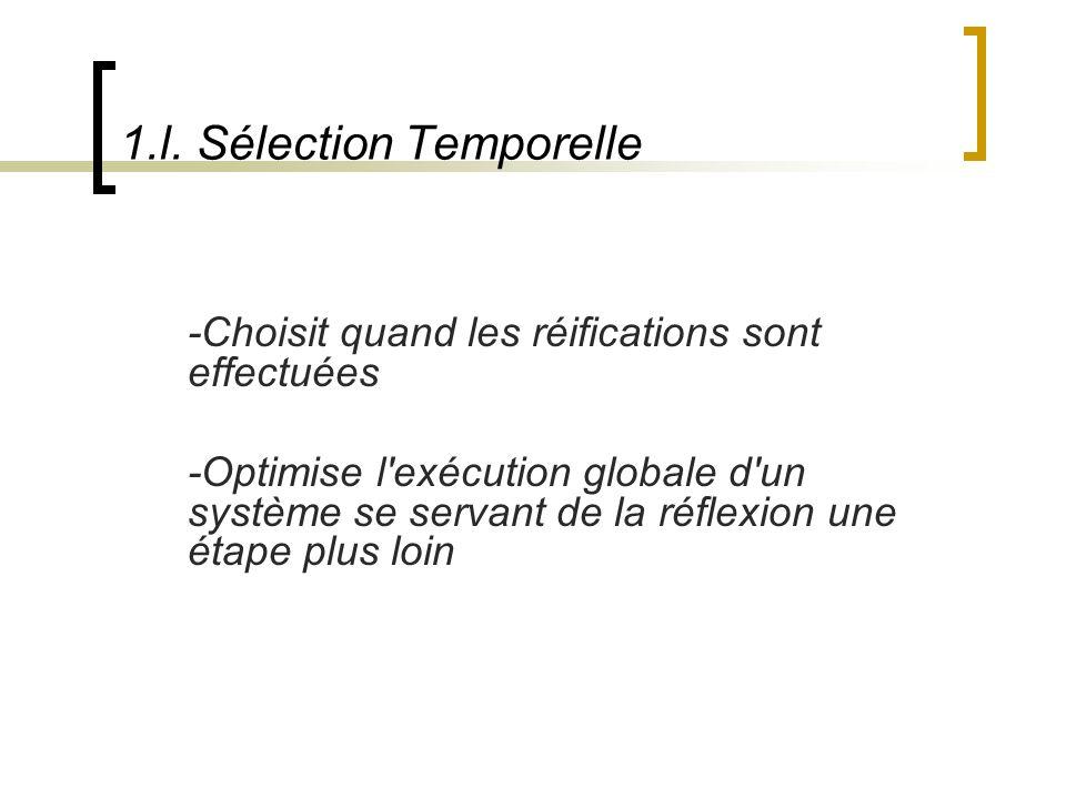 1.l. Sélection Temporelle -Choisit quand les réifications sont effectuées -Optimise l'exécution globale d'un système se servant de la réflexion une ét