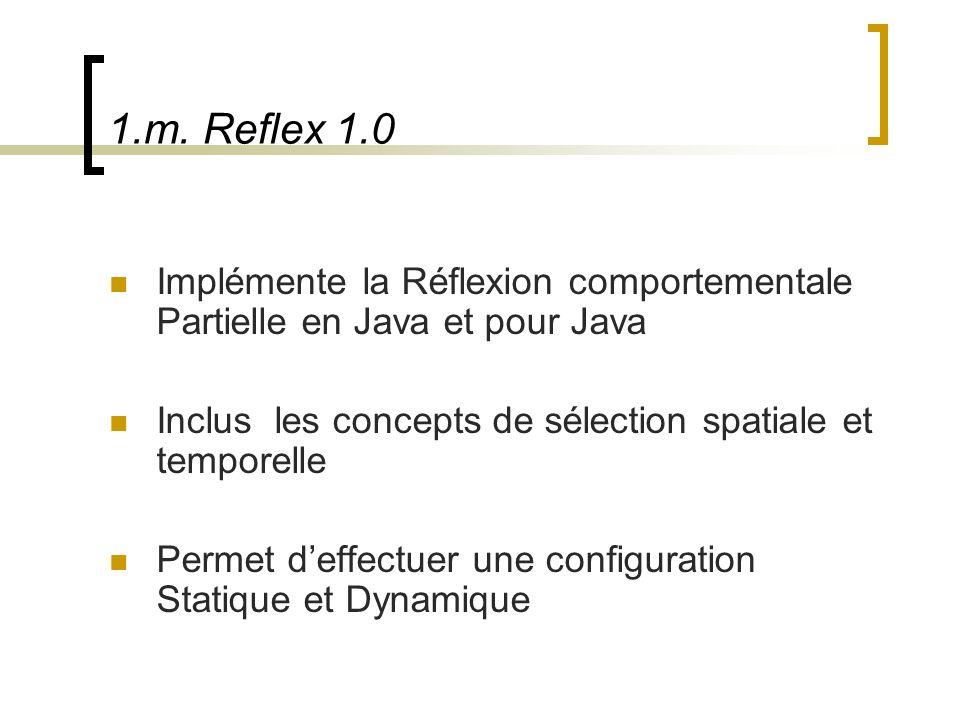 1.m. Reflex 1.0 Implémente la Réflexion comportementale Partielle en Java et pour Java Inclus les concepts de sélection spatiale et temporelle Permet