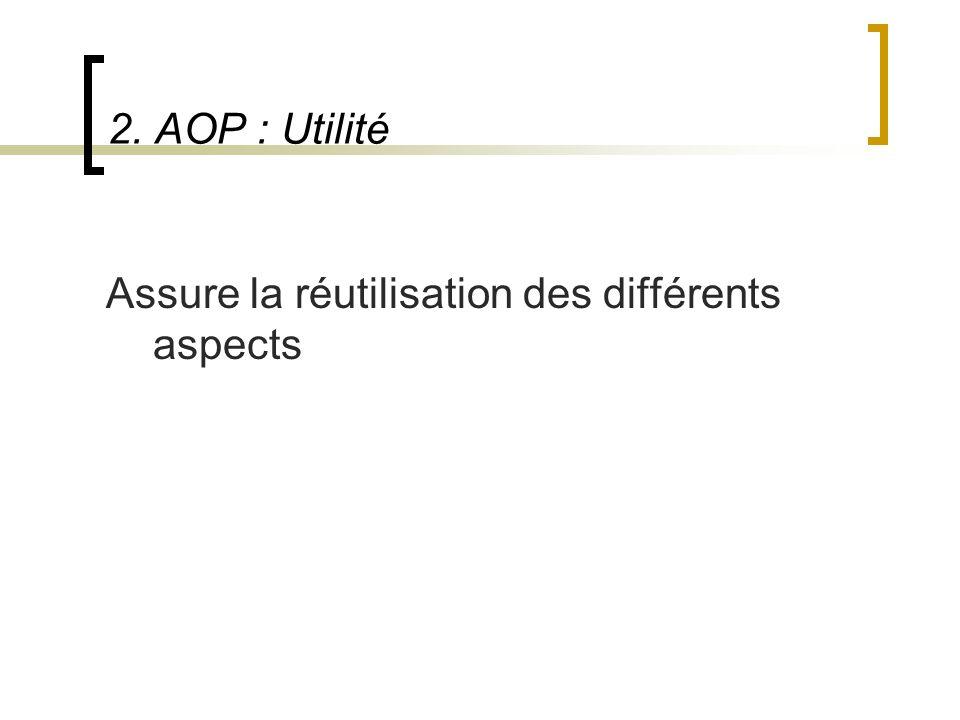 2. AOP : Utilité Assure la réutilisation des différents aspects