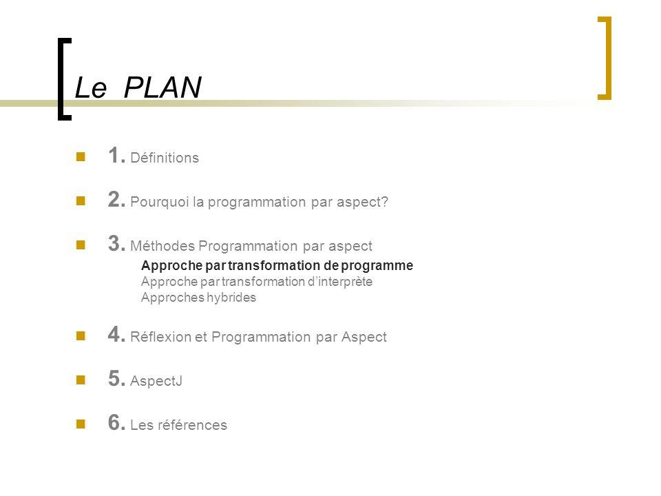 Le PLAN 1. Définitions 2. Pourquoi la programmation par aspect? 3. Méthodes Programmation par aspect Approche par transformation de programme Approche