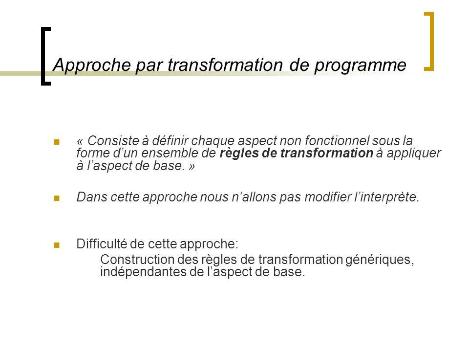 Approche par transformation de programme « Consiste à définir chaque aspect non fonctionnel sous la forme dun ensemble de règles de transformation à appliquer à laspect de base.