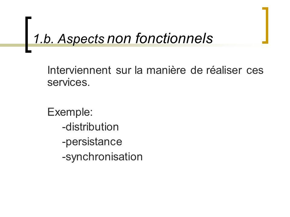 1.b. Aspects non fonctionnels Interviennent sur la manière de réaliser ces services. Exemple: -distribution -persistance -synchronisation