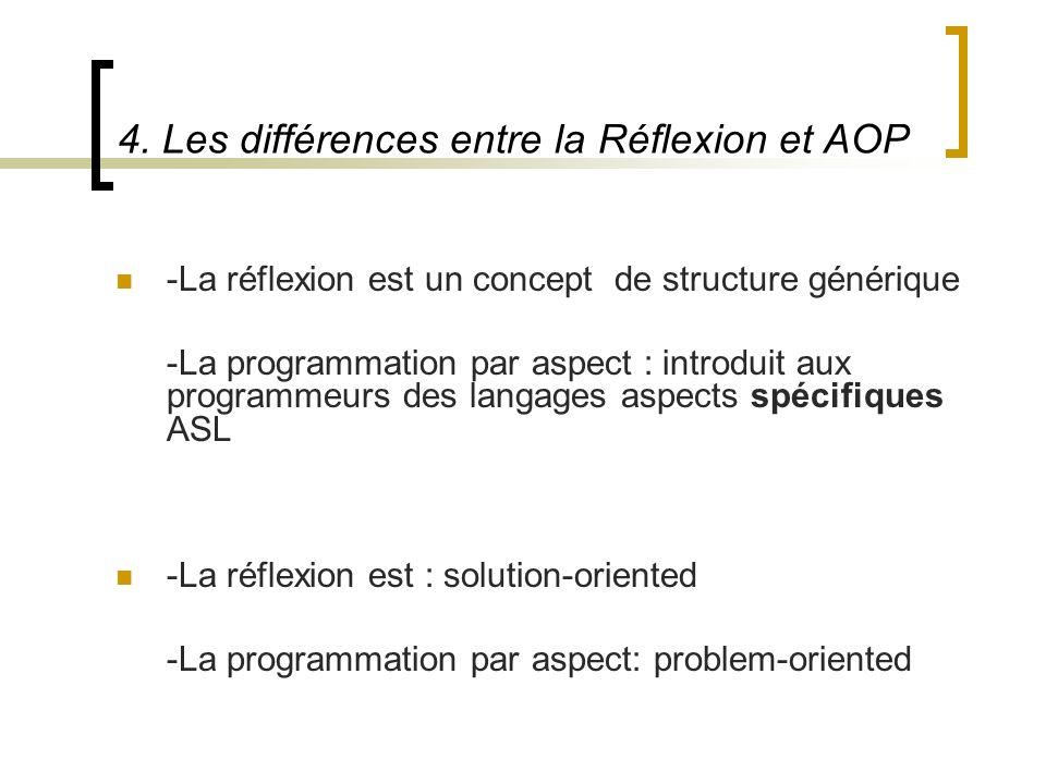 4. Les différences entre la Réflexion et AOP -La réflexion est un concept de structure générique -La programmation par aspect : introduit aux programm