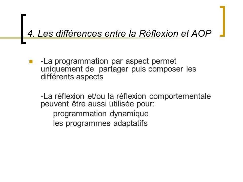 4. Les différences entre la Réflexion et AOP -La programmation par aspect permet uniquement de partager puis composer les différents aspects -La réfle