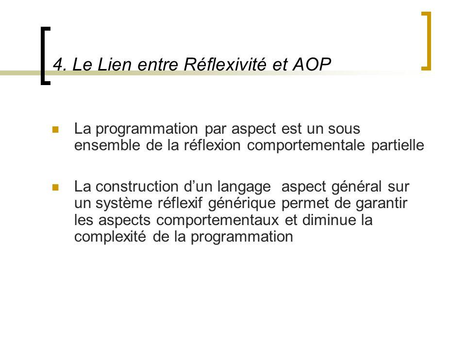 4. Le Lien entre Réflexivité et AOP La programmation par aspect est un sous ensemble de la réflexion comportementale partielle La construction dun lan