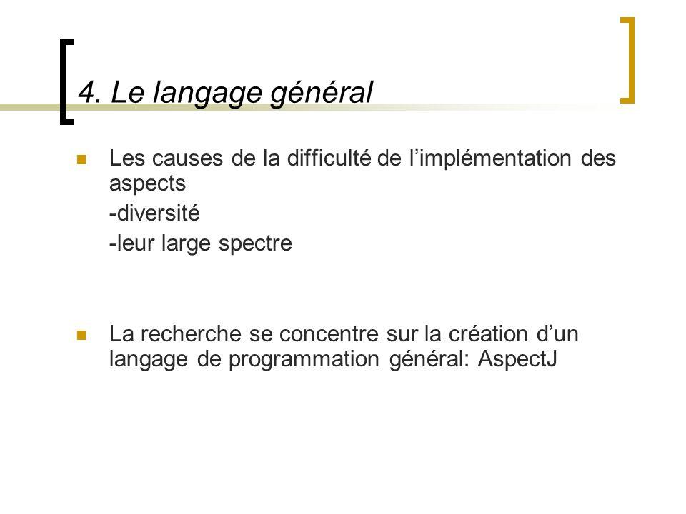 4. Le langage général Les causes de la difficulté de limplémentation des aspects -diversité -leur large spectre La recherche se concentre sur la créat