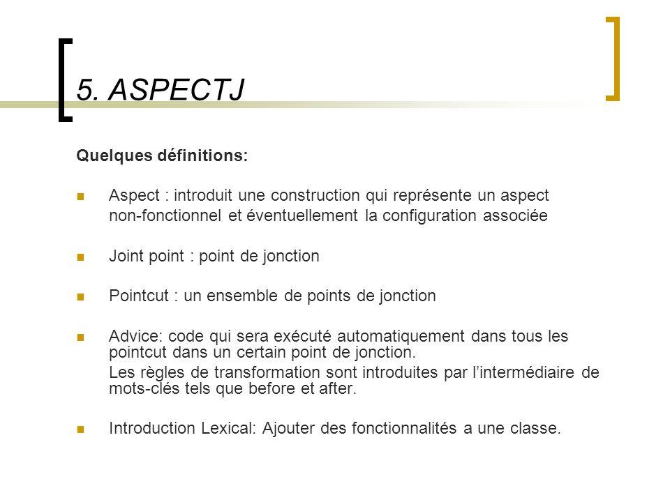 5. ASPECTJ Quelques définitions: Aspect : introduit une construction qui représente un aspect non-fonctionnel et éventuellement la configuration assoc