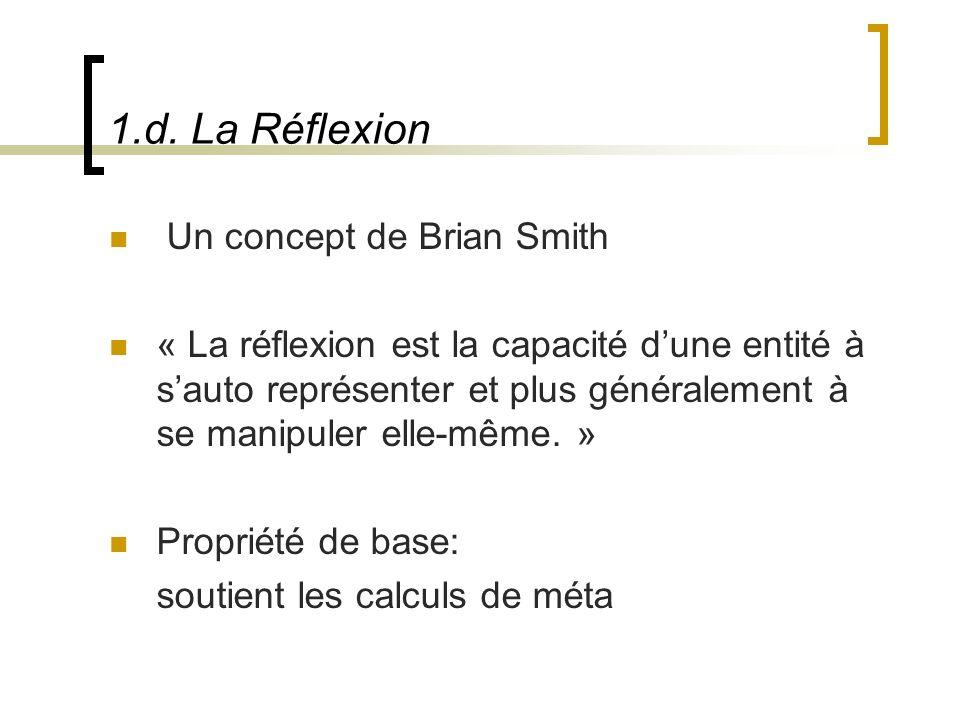 1.d. La Réflexion Un concept de Brian Smith « La réflexion est la capacité dune entité à sauto représenter et plus généralement à se manipuler elle-mê