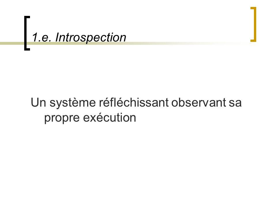 1.e. Introspection Un système réfléchissant observant sa propre exécution