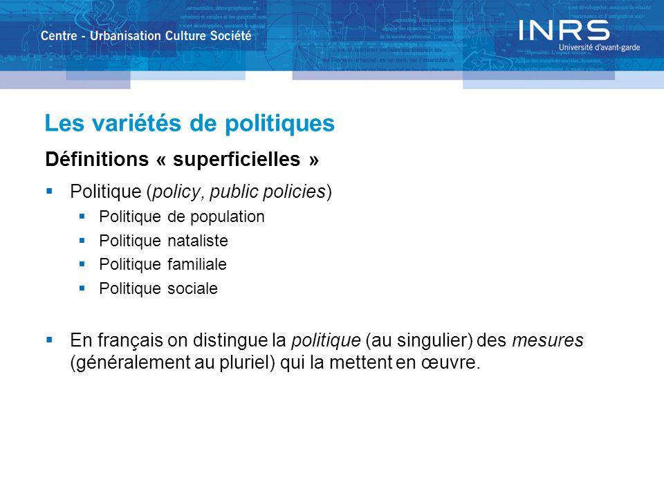 Les variétés de politiques La politique de population On en parle surtout dans les pays en voie de développement.