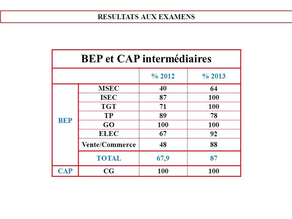 RESULTATS AUX EXAMENS BEP et CAP intermédiaires % 2012% 2013 BEP MSEC40 64 ISEC87 100 TGT71 100 TP89 78 GO100 ELEC67 92 Vente/Commerce48 88 TOTAL67,98