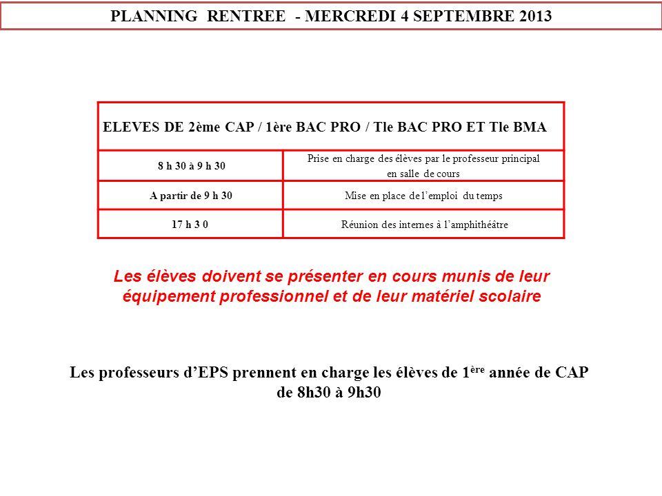 PLANNING RENTREE - MERCREDI 4 SEPTEMBRE 2013 ELEVES DE 2ème CAP / 1ère BAC PRO / Tle BAC PRO ET Tle BMA 8 h 30 à 9 h 30 Prise en charge des élèves par