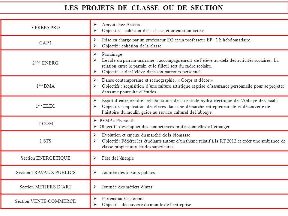 LES PROJETS DE CLASSE OU DE SECTION 3 PREPA PRO Amyot chez Astérix Objectifs : cohésion de la classe et orientation active CAP 1 Prise en charge par u