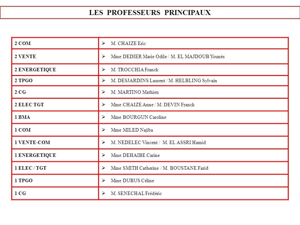 LES PROFESSEURS PRINCIPAUX 2 COM M. CHAIZE Eric 2 VENTE Mme DEDIER Marie Odile / M. EL MAJDOUB Younès 2 ENERGETIQUE M. TROCCHIA Franck 2 TPGO M. DESJA