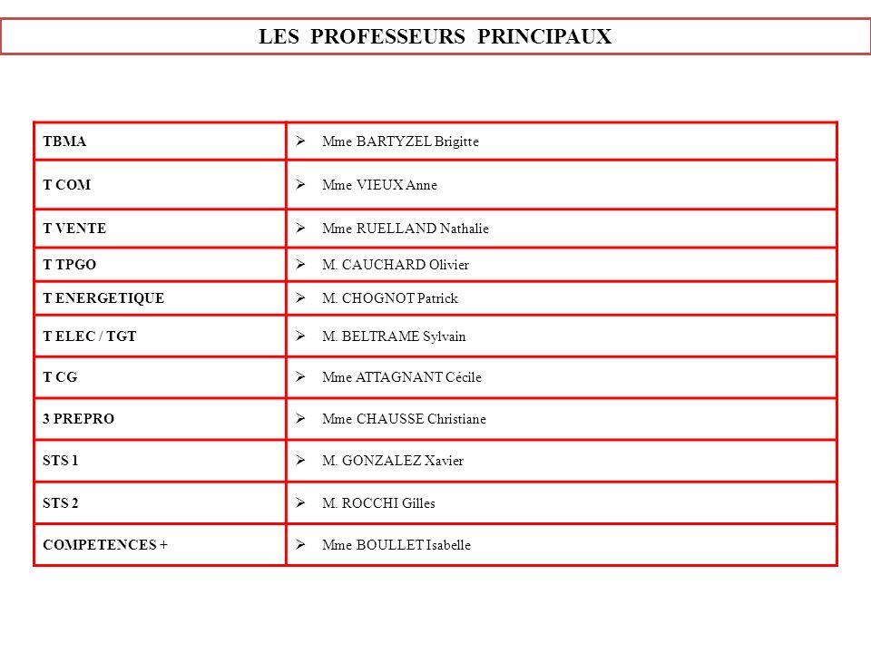 LES PROFESSEURS PRINCIPAUX TBMA Mme BARTYZEL Brigitte T COM Mme VIEUX Anne T VENTE Mme RUELLAND Nathalie T TPGO M. CAUCHARD Olivier T ENERGETIQUE M. C