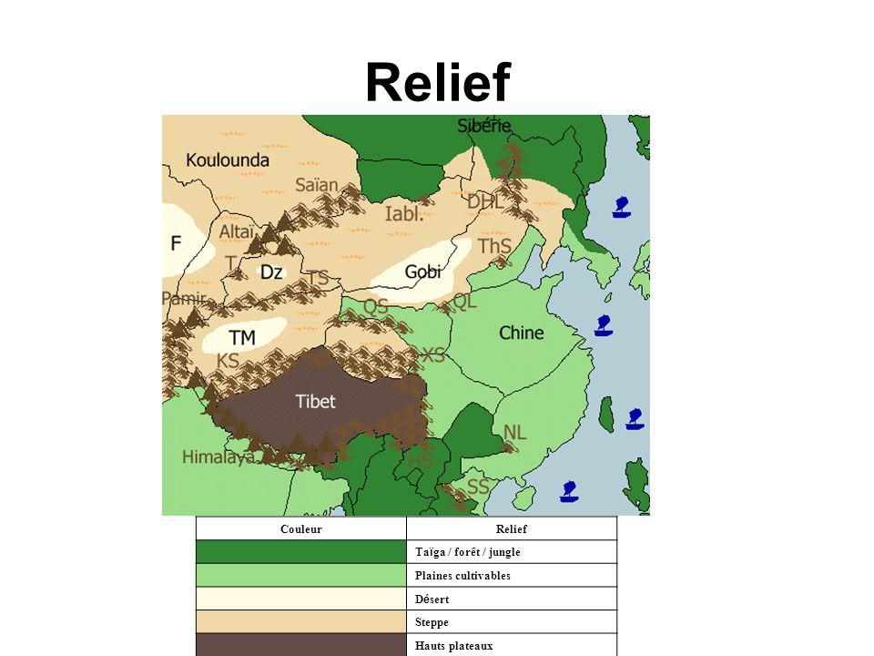 Relief CouleurRelief Ta ï ga / forêt / jungle Plaines cultivables D é sert Steppe Hauts plateaux
