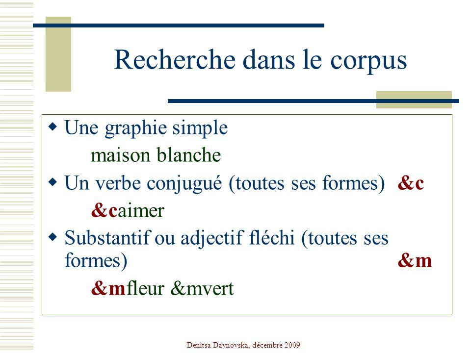 Denitsa Daynovska, décembre 2009 Recherche dans le corpus Une graphie simple maison blanche Un verbe conjugué (toutes ses formes) &c &caimer Substanti