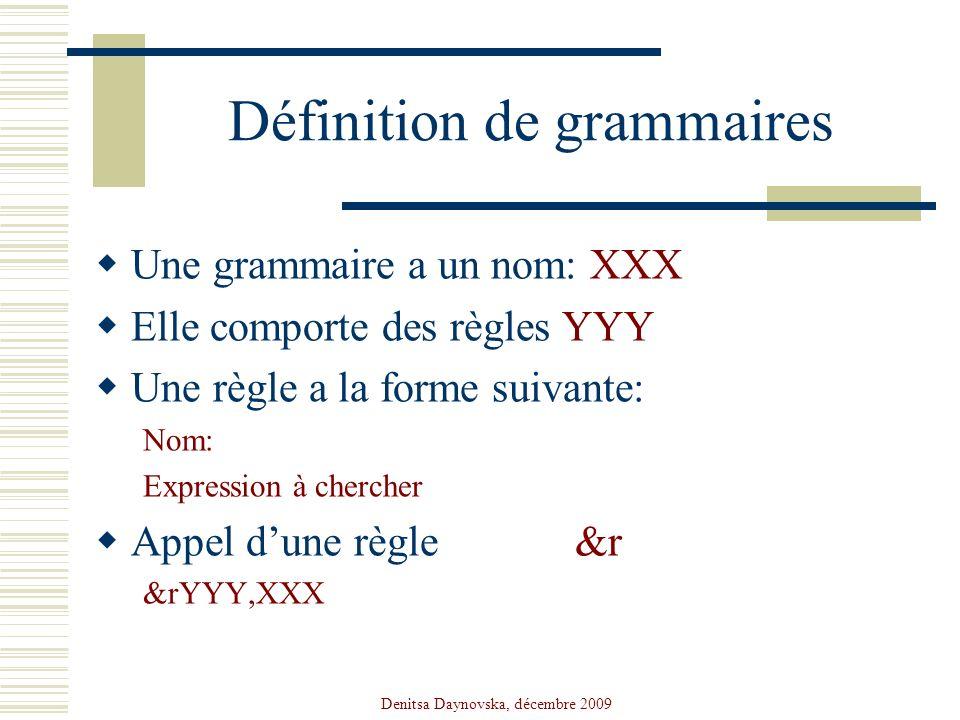 Denitsa Daynovska, décembre 2009 Définition de grammaires Une grammaire a un nom: XXX Elle comporte des règles YYY Une règle a la forme suivante: Nom: