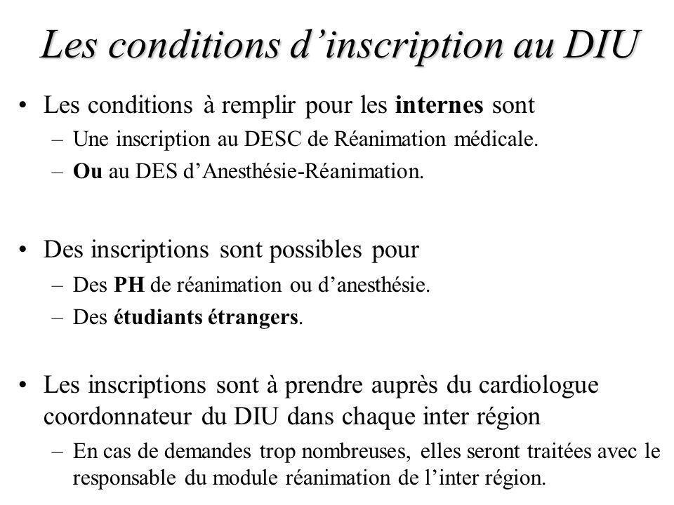 Les conditions dinscription au DIU Les conditions à remplir pour les internes sont –Une inscription au DESC de Réanimation médicale. –Ou au DES dAnest