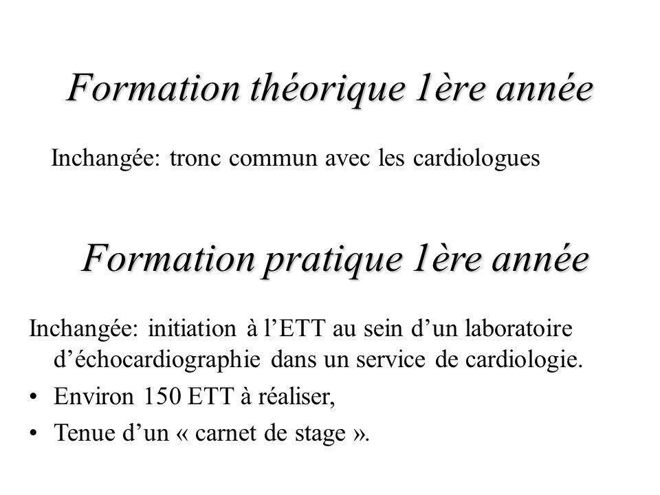 Formation théorique 1ère année Inchangée: tronc commun avec les cardiologues Formation pratique 1ère année Inchangée: initiation à lETT au sein dun la