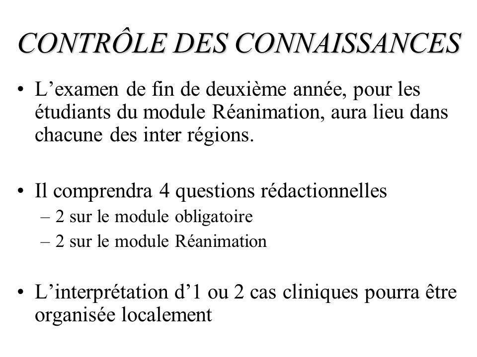CONTRÔLE DES CONNAISSANCES Lexamen de fin de deuxième année, pour les étudiants du module Réanimation, aura lieu dans chacune des inter régions. Il co