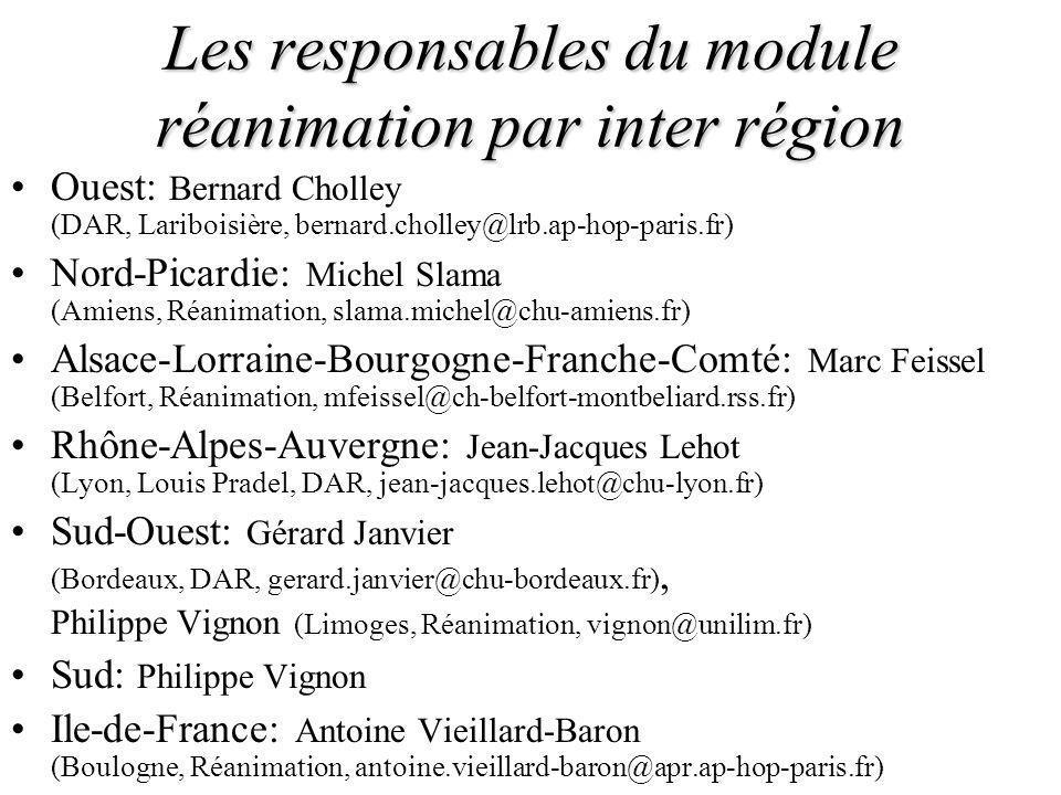 Les responsables du module réanimation par inter région Ouest: Bernard Cholley (DAR, Lariboisière, bernard.cholley@lrb.ap-hop-paris.fr) Nord-Picardie: