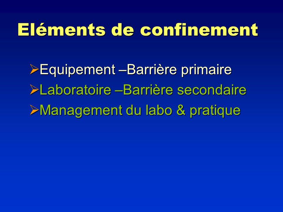 Eléments de confinement Equipement –Barrière primaire Equipement –Barrière primaire Laboratoire –Barrière secondaire Laboratoire –Barrière secondaire