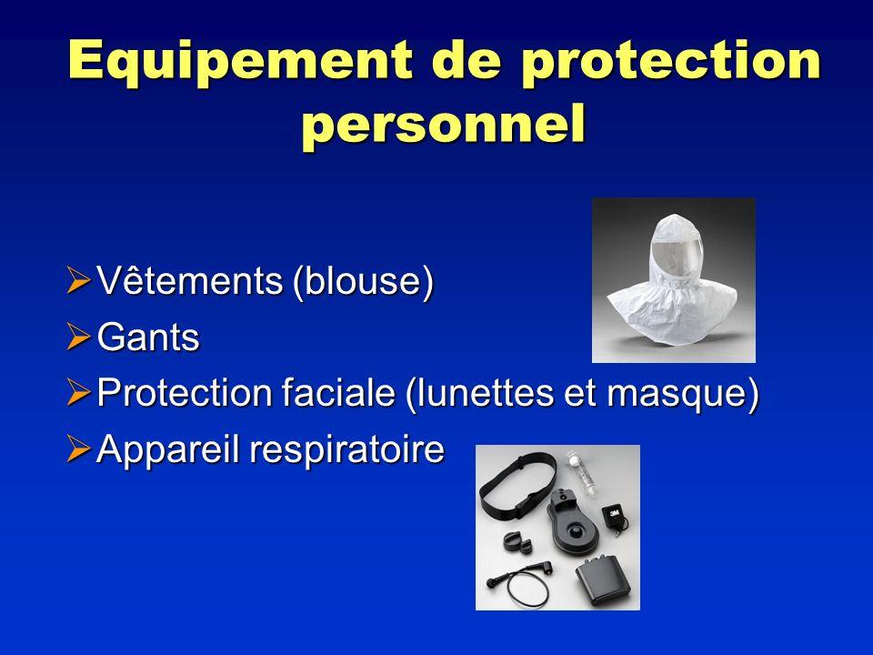Equipement de protection personnel Vêtements (blouse) Vêtements (blouse) Gants Gants Protection faciale (lunettes et masque) Protection faciale (lunet