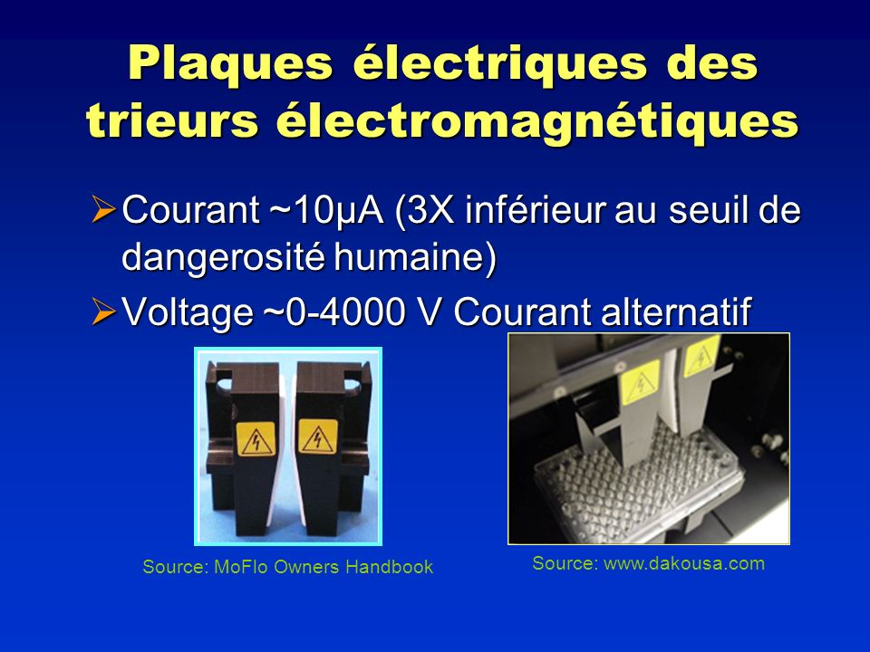 Plaques électriques des trieurs électromagnétiques Courant ~10µA (3X inférieur au seuil de dangerosité humaine) Courant ~10µA (3X inférieur au seuil d