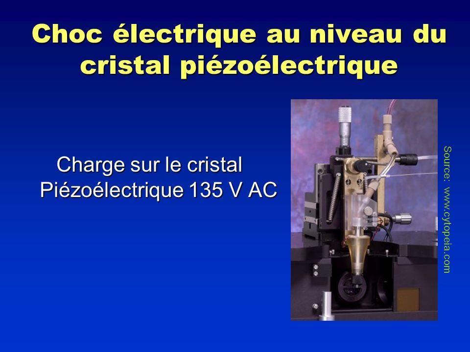 Choc électrique au niveau du cristal piézoélectrique Charge sur le cristal Piézoélectrique 135 V AC Source: www.cytopeia.com