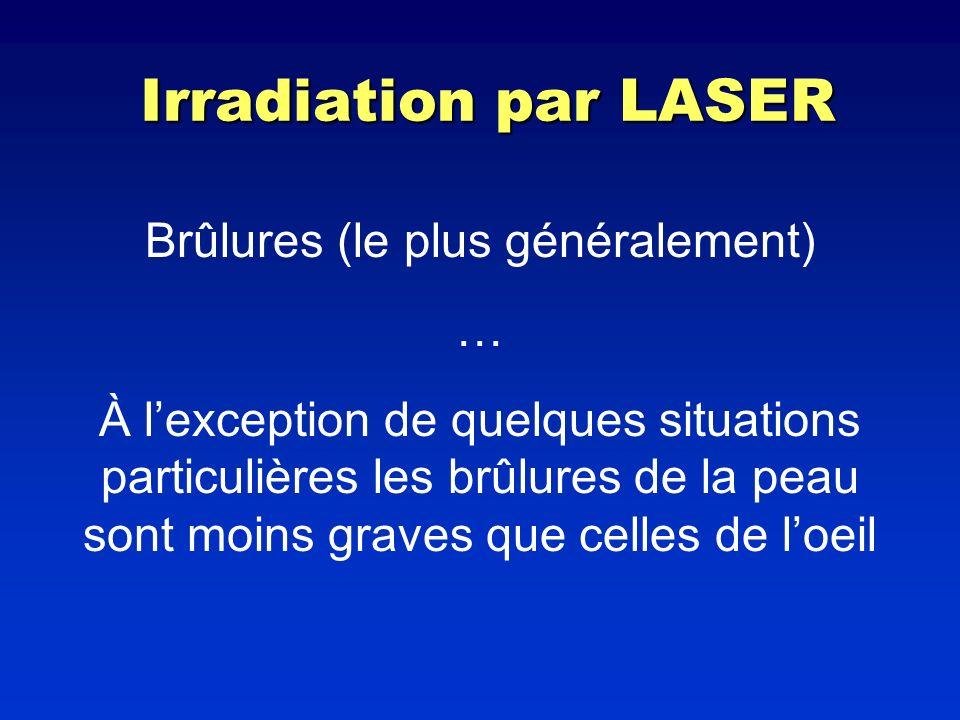 Irradiation par LASER Brûlures (le plus généralement) … À lexception de quelques situations particulières les brûlures de la peau sont moins graves qu